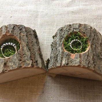 His and Hers Ring Bearer Pillow Alternative,Natural Wood Slice,Woodland Wedding,Moss Ring Bearer Pillow,Country Wedding, Ring Bearer Pillow