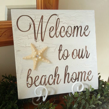 Beach House Welcome Sign with Starfish.  Housewarming Gift Rustic Beach Sign.  10x10