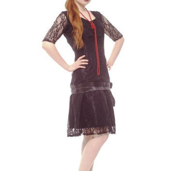 Black Lace 1920s Flapper Great Gatsby Bridesmaid New Year Party Dress