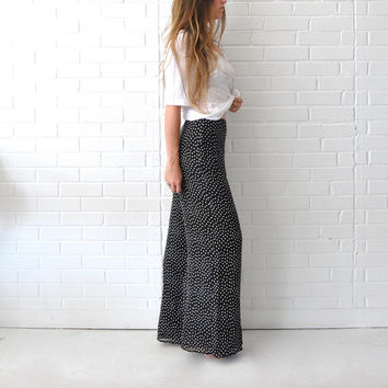Palazzo Pants  //  ESCADA Wide Leg Pants  //  SILK Flowy Lightweight Pants  //  Designer Palazzo Pants 34  //  Black White Polka Dot