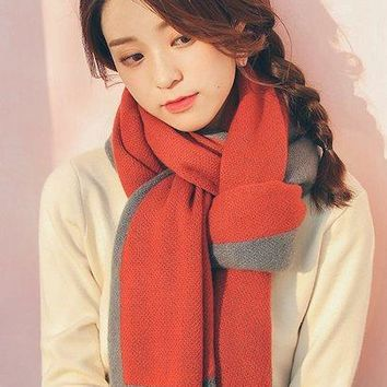 Fashion Sweet Imitation Cashmere Long Knitted Scarf Women Korean Street Hot Winter Thick Warm Soft Color Block Rectangle Scarves