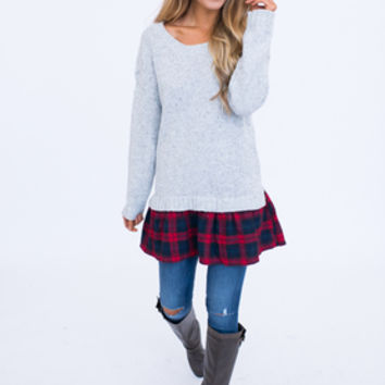 Grey Plaid Hem Sweater