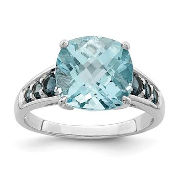 Sterling Silver Cushion Cut Sky Blue Topaz And London Blue Topaz Ring