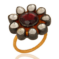 Rhodolite Garnet Gemstone Ring With Crystal Polki In 18K Gold On Sterling Silver