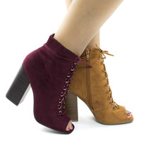 Darlyn07 Peep Toe Corset Lace Up Stacked Chunky Heel Ankle Booties