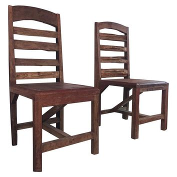 Pre-owned Rustic Antique Hand Carved Chairs - A Pair