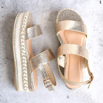 Gold Glitter Single Band Espadrilles Platform Sandal with Ankle Strap