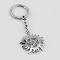 New Style Sun and Star Supernatural Symbol Logo Metal Key Ring Keychain Key Chains Silver