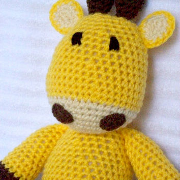 Crochet Animal, Crochet Giraffe Stuffed Animal, Giraffe Plush, Yellow Nursery Decor, Zoo Nursery Decor, Crochet Giraffe