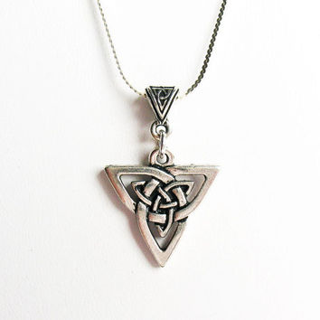 Celtic Trinity Knot Necklace - on Sterling Silver Chain with Celtic Bail