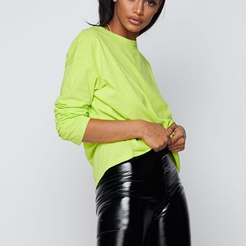 You're Basic Long Sleeved Crew Neck Oversized Top Neon