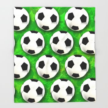 Soccer Ball Football Pattern Throw Blanket by bluedarkatlem