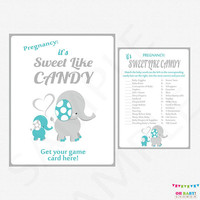 Candy bar baby shower game, Teal and Grey Elephant Baby Shower Games, How Sweet it is Game AND Sign, Gender Neutral Baby Shower, ELTBG