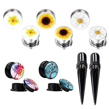 Gauges Kit Plugs Tapers Ear Stretch Double Flare Screw Fit Acrylic Steel 00G Piercing 12PC