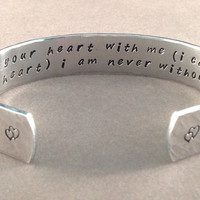 """Mother's Day / Daughter gift - """"i carry your heart with me (i carry it in my heart) i am never without it"""" 1/2"""" hidden message cuff"""