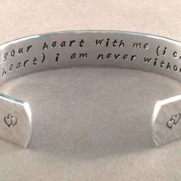 "Mother's Day / Daughter gift - ""i carry your heart with me (i carry it in my heart) i am never without it"" 1/2"" hidden message cuff"