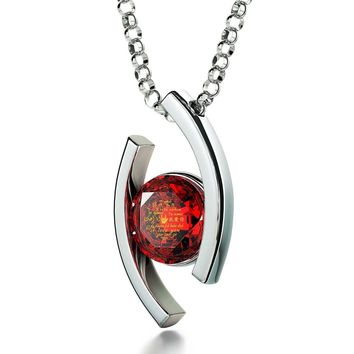 """""""I Love You"""" in 12 Languages, 925 Sterling Silver Necklace, Swarovski"""