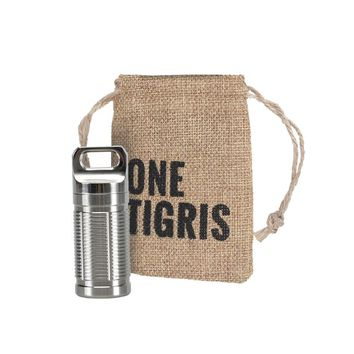 OneTigris EDC Survival Waterproof Pill Fob Match Case Container with O-Ring Hiking Emergency Gear Titanium Pill Holder