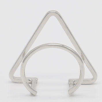 Silver Geometric Shape Open Ring