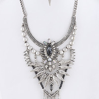 Textured Ornate Bib Necklace Set