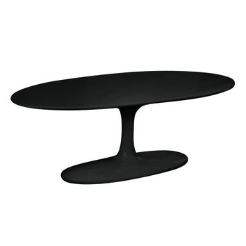 Flower Coffee Table Oval Fiberglass, Black