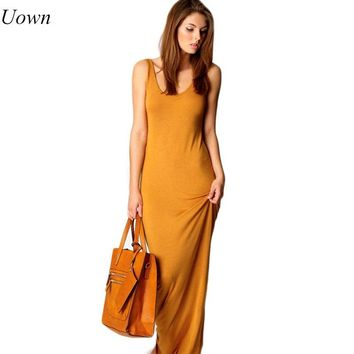 Doyerl Summer Sexy Women Long Dress Slim Tank Dress Solid Round Neck Sleeveless Ankle Length Casual Basic Maxi Dress for Ladies