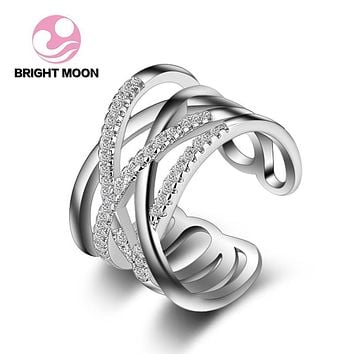 Top Authentic 925 Sterling Silver Rings Couple Wedding Luxury Jewelry Braided Pave Ring Retro Cross Ring Infinity Rings JZ-120