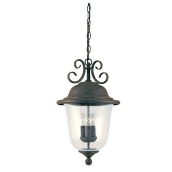 3-Light 20'' Oxidized Bronze 3 candelabra torpedo 40w Outdoor Pendant with Clear Seeded glass