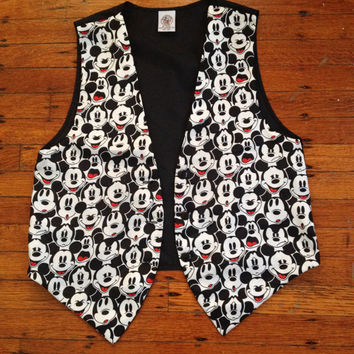 Vintage Mickey Mouse Faces Vest Disney Vest Red White Black Vest S M or L