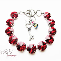New,Scarlett,Swarovski 12mm Bracelet, Red, Antique Silver, Adjustable, Statement, Crystal, Round, DKSJewelrydesigns, FREE SHIPPING