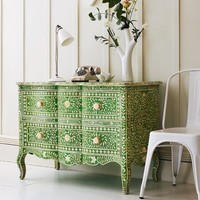 Green & Bone Inlay Curved 2 Drawer Chest - Eclectic - Chests of Drawers - by Graham and Green