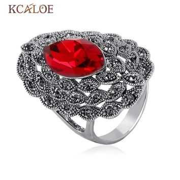 KCALOE Vintage Jewelry Red/Gray/Blue Austrian Crystal Rings For Women Anillos Antique Silver Color Black Rhinestone Wedding Ring