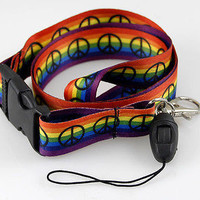 """Rainbow Peace Signs 15"""" lanyard for ID Holder Mobile Devices and More-New w/tags"""