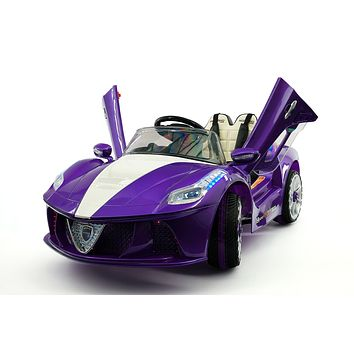 Spider GT Kids 12V Ride-On Car with R/C Parental Remote | Purple