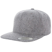 Melton Wool FlexFit Flat Bill Snapback Adjustable Yupoong Hat - New Style - One Size