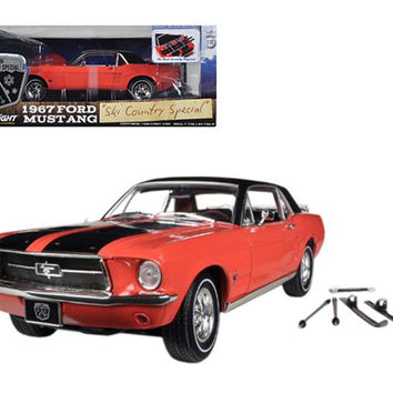 "1967 Ford Mustang Coupe ""Ski Country Special"" Aspen Red with Black Stripes and Black Vinyl Roof and a Pair of Skies 1-18 Diecast Model Car by Greenlight"