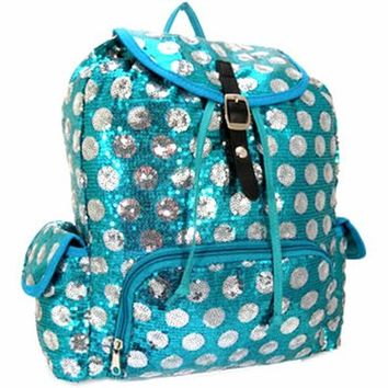 Bling! Polka Dot Sequins Backpack Purse (Turquoise / Silver)
