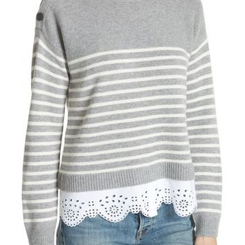 Joie Aefre Woven Trim Wool & Cashmere Sweater | Nordstrom