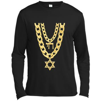 Jew Chai Bling Chain Hanukkah Festival Of Lights Jew  Long Sleeve Moisture Absorbing Shirt