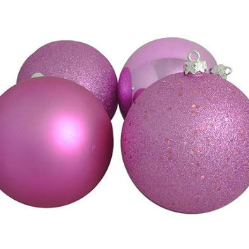 "4 Christmas Ball Ornaments - 6 ""  - Pink"