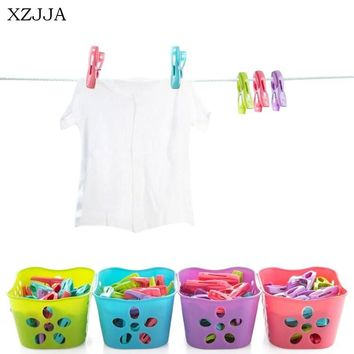 XZJJA 30Pcs Creative Plastic Clothes Pegs Laundry Hanging Clothes Pins Beach Towel Clips Clamp Household Clothespins