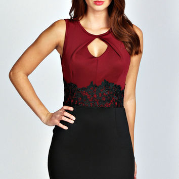 Red and Black Sleeveless Cut-Out with Lace Waistband Mini Dress