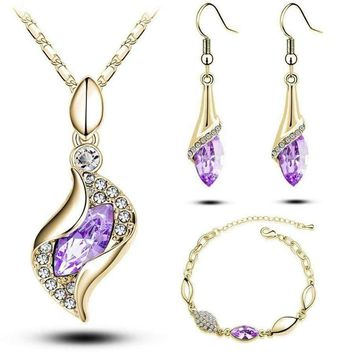 Elegant Luxury Design New Fashion  Gold Filled Colorful Austrian Crystal Drop Jewelry Sets Women