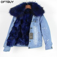 brand 2017 autumn winter jacket coat women Holes Denim jacket real large raccoon fur collar and real Fox fur thick warm Liner