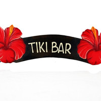 Tiki Bar Red Hibiscus Sign