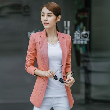 S-4XL New Women's Blazer Spring 2017 Fashion Classic Solid color Linen Cotton Small Blazers Coat Slim Outerwear Work Tops Female