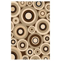 DonnieAnn® 5x8' Sculpture Area Rug, Chocolate / Cream / Beige / Circle Pattern - 215426, Rugs at Sportsman's Guide
