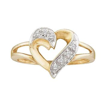 10kt Yellow Gold Women's Round Diamond Split-shank Heart Ring 1/20 Cttw - FREE Shipping (US/CAN)