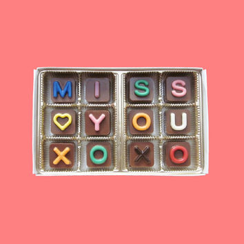 Miss You XOXO Jelly Bean Chocolate Cube Letters Coolest Long Distance Valentines Day Holiday Gift for BF Men Women Her Him Made to Order