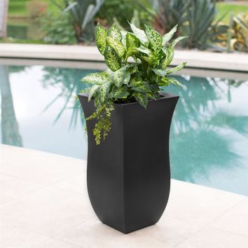 Black 16 x 16 inch Modern Outdoor Indoor Polyethylene Patio Planter - 30-inch Tall